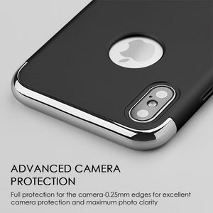 Rubberized Protective Griptech 3-Piece Case with Chrome Frame - Black for iPhone X