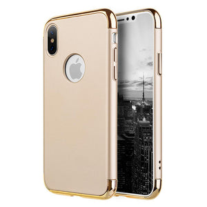 Rubberized Protective Griptech 3-Piece Case with Chrome Frame - Gold for iPhone X