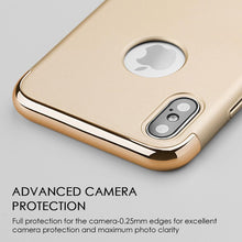 Load image into Gallery viewer, Rubberized Protective Griptech 3-Piece Case with Chrome Frame - Gold for iPhone X