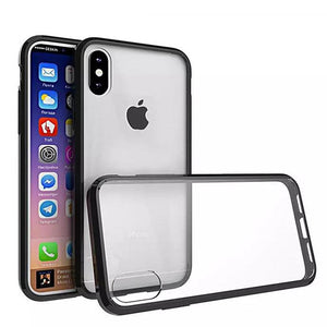 Shockproof Fusion Candy TPU Case with Clear Acrylic Back - Black for iPhone X