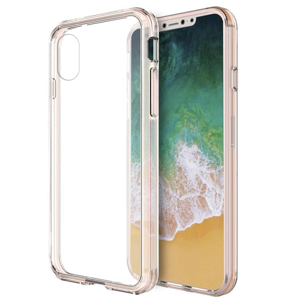 Shockproof Fusion Candy TPU Case with Clear Acrylic Back - Pink for iPhone X