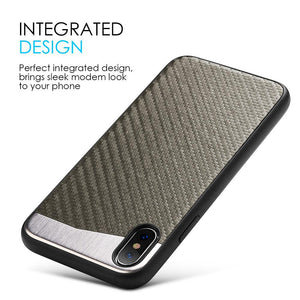 Carbon Metallic Fusion Candy TPU Case with Car Mount System - Grey for iPhone X