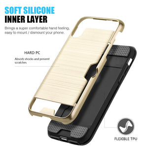 Hybrid Go Case with Credit Card Holder Slot - Black/ Gold for iPhone X