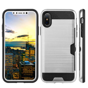 Hybrid Go Case with Credit Card Holder Slot - Black/ Silver for iPhone X