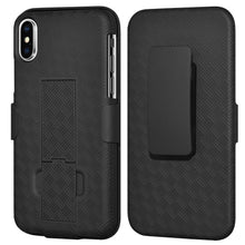 Load image into Gallery viewer, AMZER Shellster Hard Case with Belt Clip Holster for iPhone X - Black