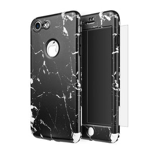 Full Protection TPU Marble Case with Tempered Glass Screen Protector - Black for iPhone 7