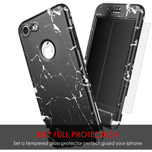 Load image into Gallery viewer, Full Protection TPU Marble Case with Tempered Glass Screen Protector - Black for iPhone 7