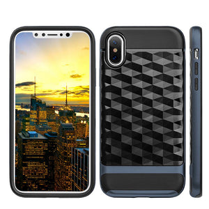 Hybrid Diamond Wave TPU Case with Frame - Black/ Navy Blue for iPhone X