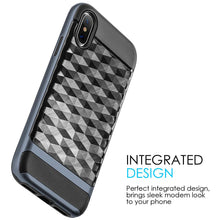 Load image into Gallery viewer, Hybrid Diamond Wave TPU Case with Frame - Black/ Navy Blue for iPhone X