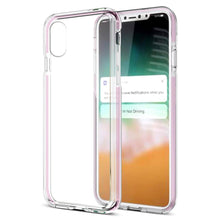 Load image into Gallery viewer, Hybrid TPU Case with Bumper- Clear/ Pink for iPhone X