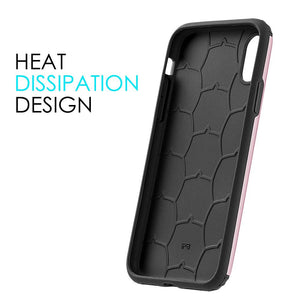 Hybrid Anti Shock Armor Case - Black/ Rose Gold for iPhone X