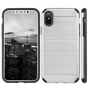 Hybrid Anti Shock Armor Case - Black/ Silver for iPhone X