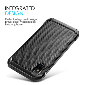 Hybrid Carbon Fibre Case And Reinforced Hard Bumper for iPhone X - Black/ Black