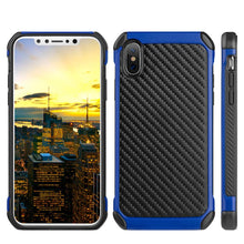 Load image into Gallery viewer, Hybrid Carbon Case with Carbon Fibre Design And Reinforced Hard Bumper - Black/ Blue for iPhone X