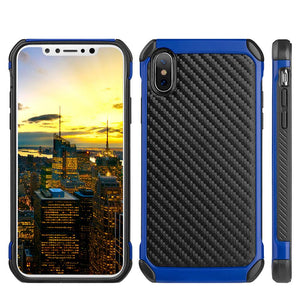Hybrid Carbon Case with Carbon Fibre Design And Reinforced Hard Bumper - Black/ Blue for iPhone X