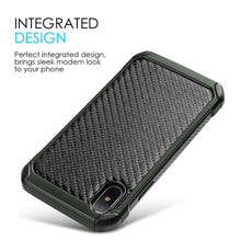 Load image into Gallery viewer, Hybrid Carbon Case With Carbon Fibre Design And Reinforced Hard Bumper for iPhone X - Black/ Green