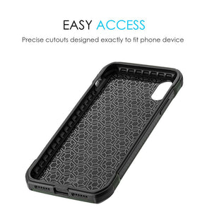 Hybrid Carbon Case With Carbon Fibre Design And Reinforced Hard Bumper for iPhone X - Black/ Green