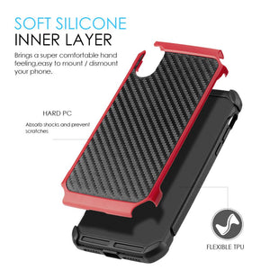 Hybrid Carbon Case with Carbon Fibre Design And Reinforced Hard Bumper - Black/ Red for iPhone X