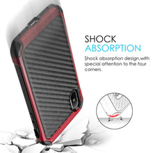 Load image into Gallery viewer, Hybrid Carbon Case with Carbon Fibre Design And Reinforced Hard Bumper - Black/ Red for iPhone X
