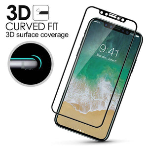 Premium Full Coverage Tempered Glass 3D Curved Screen Protector for iPhone X - White