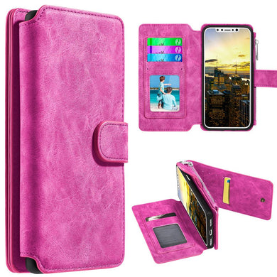 Leather Flip Wallet with Card Slot and Detachable Back Case - Hot Pink for iPhone X
