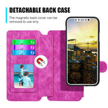 Load image into Gallery viewer, Leather Flip Wallet with Card Slot and Detachable Back Case - Hot Pink for iPhone X