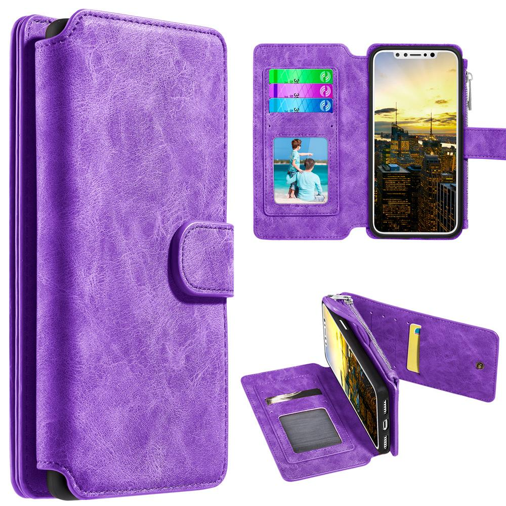Leather Flip Wallet with Card Slot and Detachable Back Case - Purple for iPhone X