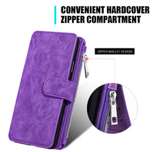 Load image into Gallery viewer, Leather Flip Wallet with Card Slot and Detachable Back Case - Purple for iPhone X