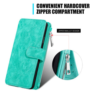Leather Flip Wallet with Card Slot and Detachable Back Case - Teal for iPhone X