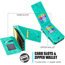 Load image into Gallery viewer, Leather Flip Wallet with Card Slot and Detachable Back Case - Teal for iPhone X