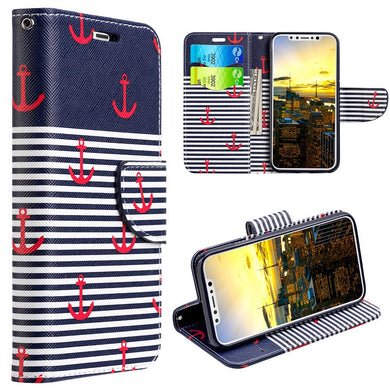 Trendy Leather Flip Wallet Case with Stand and Card Slot - Classic Anchor for iPhone X