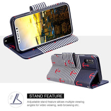 Load image into Gallery viewer, Trendy Leather Flip Wallet Case with Stand and Card Slot - Classic Anchor for iPhone X
