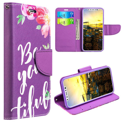 Trendy Leather Flip Wallet Case with Stand and Card Slot - Be-You-Tiful for iPhone X