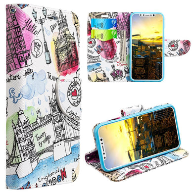 Trendy Leather Flip Wallet Case with Stand and Card Slot - Escape To London for iPhone X
