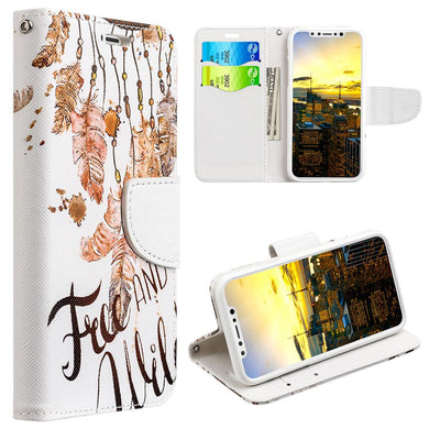 Trendy Leather Flip Wallet Case with Stand and Card Slot - Free & Wild for iPhone X