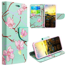 Load image into Gallery viewer, Trendy Leather Flip Wallet Case with Stand and Card Slot - Japanese Blossom for iPhone X