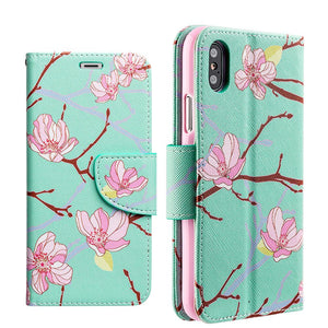 Trendy Leather Flip Wallet Case with Stand and Card Slot - Japanese Blossom for iPhone X
