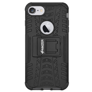 AMZER Shockproof Warrior Hybrid Case for iPhone 8 - Black/Black