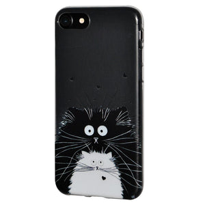 Ultra Thin Protective Cover Soft Gel Shockproof TPU Skin Case Cat for iPhone 8 - Clear