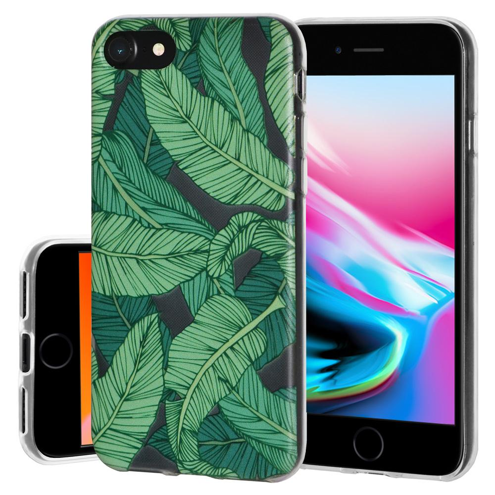 Ultra Thin Protective Cover Soft Gel Shockproof TPU Skin Case Tropical Leaf for iPhone 8 - Clear