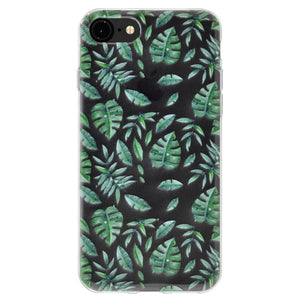 Ultra Thin Protective Cover Soft Gel Shockproof TPU Skin Case Woodland Fern for iPhone 8 - Clear