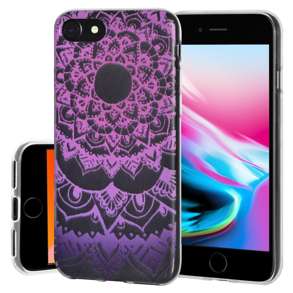 Soft Gel Protective Clear TPU Case for iPhone 8 - Mandala Purple Zen