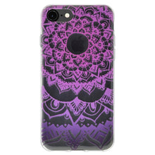 Load image into Gallery viewer, Soft Gel Protective Clear TPU Case for iPhone 8 - Mandala Purple Zen