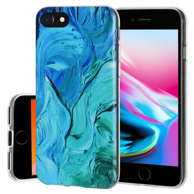 Protective Cover Soft Gel Shockproof TPU Skin Case Abstract Blue Brushstroke for iPhone 8 - Clear