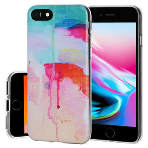 Soft Gel Shockproof TPU Skin Case Abstract Watercolor Drip for iPhone 8 - Clear