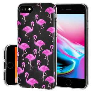 Ultra Thin Protective Cover Soft Gel Shockproof TPU Skin Case Flamingo Print for iPhone 8 - Clear