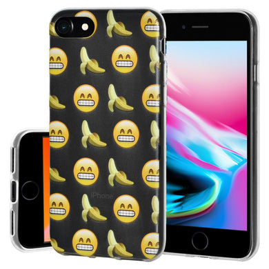 Ultra Thin Protective Cover Soft Gel Shockproof TPU Skin Case Grin with Bananas for iPhone 8 - Clear