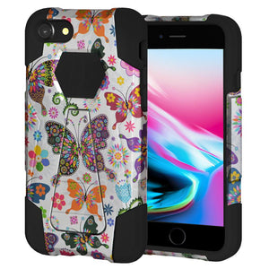 AMZER Dual Layer Designer Hybrid Case with Kickstand - Colorful Butterfly Flower Polka Dot Floral for iPhone 8