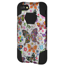 Load image into Gallery viewer, AMZER Dual Layer Designer Hybrid Case with Kickstand - Colorful Butterfly Flower Polka Dot Floral for iPhone 8