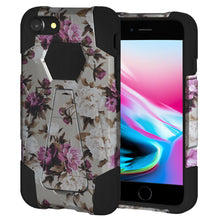 Load image into Gallery viewer, AMZER Dual Layer Designer Hybrid Case with Kickstand - Romantic Pink White Roses Floral for iPhone 8